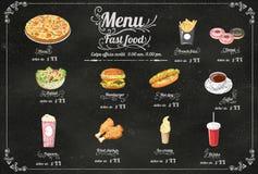 Menú de los alimentos de preparación rápida del restaurante en el formato eps10 del vector de la pizarra Foto de archivo libre de regalías