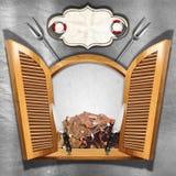 Menú de los mariscos en ventana de madera Foto de archivo libre de regalías