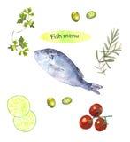Menú de los pescados Foto de archivo libre de regalías