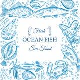 Menú de los pescados de mar Fotografía de archivo libre de regalías