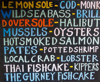 Menú de los pescados frescos y de los mariscos Fotos de archivo