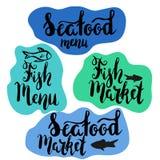Menú de los pescados y menú de los mariscos Imágenes de archivo libres de regalías