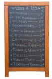 Menú de los Tapas Imagen de archivo