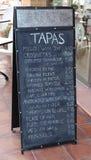Menú de los Tapas Imagenes de archivo