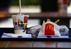 Menú de Mcdonalds Fotos de archivo