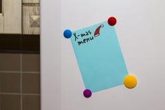 Menú de Navidad de la Navidad de la nota del refrigerador del refrigerador imagen de archivo