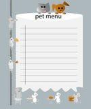 Menú del animal doméstico Foto de archivo libre de regalías