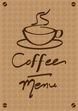 Menú del café Imagen de archivo