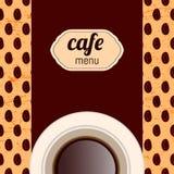 Menú del café, con una taza en colores marrones Imagenes de archivo