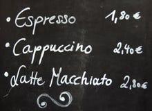 Menú del café del café Fotos de archivo