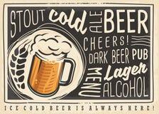 Menú del cartel de la cerveza con la taza creativa de las letras y de cerveza stock de ilustración