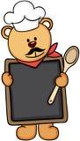 Menú del cocinero del oso de peluche stock de ilustración