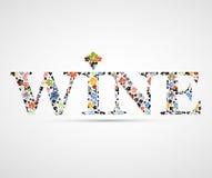 Menú del concepto de la tarjeta del vino con las hojas de la uva Ilustración del Vector