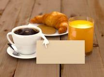 Menú del desayuno Fotografía de archivo