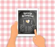Menú del desayuno en la PC de la tableta Foto de archivo