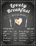 Menú del desayuno en la pizarra Imágenes de archivo libres de regalías
