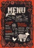Menú del filete para el restaurante con el marco de verduras gráficas Stock de ilustración
