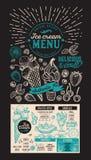 Menú del helado Aviador de la comida del postre del vector para el restaurante Diseño libre illustration