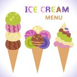 Menú del helado con los iconos Fotos de archivo libres de regalías