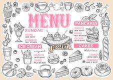 Menú del postre para el restaurante con el marco de frutas a mano stock de ilustración