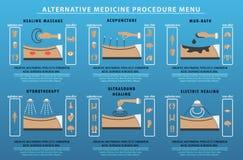 Menú del procedimiento de la medicina alternativa Fotografía de archivo