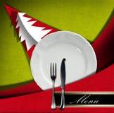 Menú del restaurante de la Navidad Foto de archivo libre de regalías