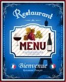 Menú del restaurante del vintage y diseño franceses del cartel Fotografía de archivo libre de regalías