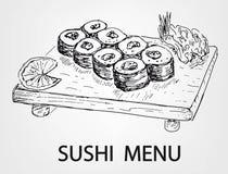 Menú del sushi Imágenes de archivo libres de regalías