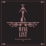 Menú del vino Imagen de archivo