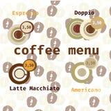 Menú determinado del icono del vector del café para el café, barra, tienda Imagen de archivo libre de regalías