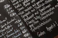 Menú en Viena Fotografía de archivo