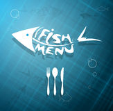 Menú escalado estilizado abstracto de los pescados para el restaurante Ilustración del Vector