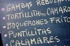 Menú español Fotos de archivo libres de regalías
