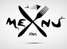 Menú estilizado abstracto de los pescados para el restaurante Ilustración del Vector