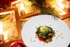 Menú festivo vegetariano del Año Nuevo de la cena Fotos de archivo
