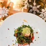 Menú festivo vegetariano del Año Nuevo de la cena Fotografía de archivo libre de regalías
