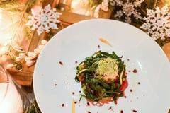 Menú festivo vegetariano del Año Nuevo de la cena Foto de archivo