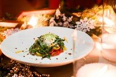 Menú festivo vegetariano del Año Nuevo de la cena Imagen de archivo libre de regalías