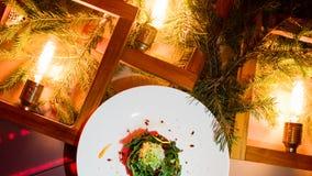 Menú festivo vegetariano del Año Nuevo de la comida Fotos de archivo libres de regalías