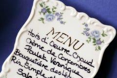 Menú francés Imagen de archivo libre de regalías
