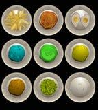 Menú fresco del partido, hecho de varios que cocinan receta Fotografía de archivo libre de regalías
