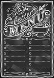 Menú gráfico de la pizarra del vintage para la barra o el restaurante stock de ilustración
