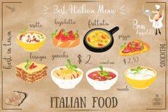 Menú italiano de la comida ilustración del vector