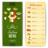 Menú italiano de la comida Imágenes de archivo libres de regalías