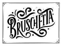 Menú italiano de la comida - nombres del plato Frase para su diseño, dibujo estilizado, de las letras composición dibujada mano Fotografía de archivo libre de regalías