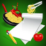 Menú italiano de las pastas Imagen de archivo