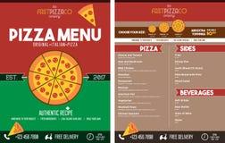 Menú italiano del restaurante de la pizza - frente y parte posterior Fotografía de archivo