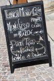 Menú italiano del restaurante en Florencia Imagen de archivo