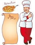 Menú italiano masculino de la pizza del cocinero Vector Imágenes de archivo libres de regalías