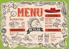 Menú mexicano para el restaurante con el marco de verduras gráficas Libre Illustration
